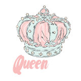Crown vector. Vector illustration. Print for clothes, cards or posters. Royalty Free Stock Photography