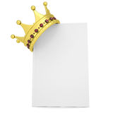 Crown on the white book. Isolated render on a white background Stock Images