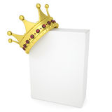 Crown on a white box. Isolated render on a white background Royalty Free Stock Images