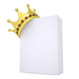 Crown on a white box. Isolated render on a white background Stock Image