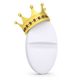 Crown on the white tablet. Isolated render on a white background Royalty Free Stock Photos