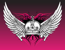Crown and Wings Tattoo on Pink Stock Photos