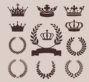 Crown and wreaths icons. Vector illustration Royalty Free Stock Photography