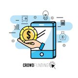 Crowndfunding finance project to idea support. Vector illustration Royalty Free Stock Photography