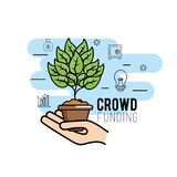 Crowndfunding finance project to idea support. Vector illustration Stock Images