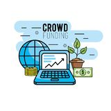 Crowndfunding finance project to idea support. Vector illustration Stock Image