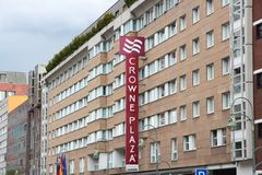 Crowne Plaza hotel. BERLIN, GERMANY - AUGUST 27, 2014: Crowne Plaza hotel in Berlin. Crowne Plaza has 390 locations around the world. It is a part of Royalty Free Stock Image