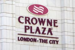 Crowne Plaza in London. LONDON, UK - JUNE 6TH 2018: The logo of the Crown Plaza hotel, located on New Bridge Street in London, on 6th June 2018 Royalty Free Stock Photos