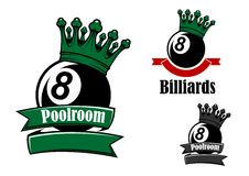 Crowned black billiards or pool ball. S sporting emblems with green and red ribbon banners, headers Poollroom and Billiards Royalty Free Stock Photo