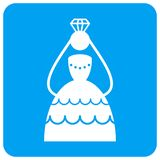 Crowned Bride Rounded Square Raster Icon royalty free illustration