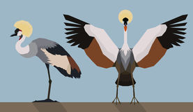 Crowned crane - Flat design Royalty Free Stock Photo