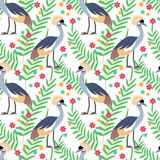 Crowned crane seamless pattern background Stock Photos