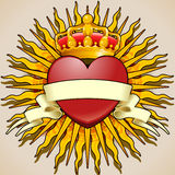 Crowned Heart with Banner and Rays Stock Image