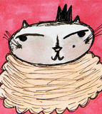 Crowned Kitty. Whimsical illustration of a beautiful crowned kitty Stock Photography