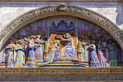 Crowning of the Virgin Mary Sculpture in Toulouse Royalty Free Stock Image