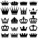 Crowns. Ð¡ollection of black and white crowns vector illustration