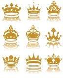 Crowns. Illustration of various crowns royalty free illustration