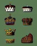 Crowns. Isolated on green background. Additional format Illustrator 8 eps stock illustration