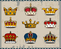 Crowns. Isolated on light background. Additional  format Illustrator 8 eps Royalty Free Stock Photos