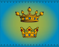 Crowns. Royal crowns isolated on blue background. Additional  format Illustrator 8 eps Royalty Free Stock Photos