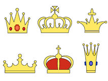 Crowns. A set of six different shaped crowns Stock Photos