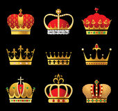Crowns. Set of 9 highly detailed golden crowns stock illustration