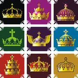 Crowns 2. Nine crowns on color backgrounds for design Royalty Free Stock Photography