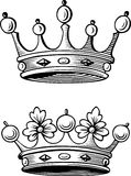 Crowns. This image is a black and white vector illustration of two crowns and can be scaled to any size without loss of resolution, can be variated and used for Stock Photos