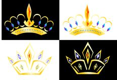 Crowns. Two different rowns on the white and black background vector illustration