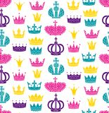 Crowns colorful modern seamless vector pattern Royalty Free Stock Photo