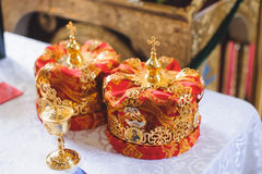 Crowns with Crosses on Top Stock Photos