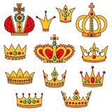 Crowns doodle icons vector set. Royal crowns doodle colorful cute line outline golden icons vector set Stock Photo