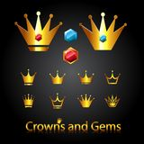 Crowns and gems. Golden royal crowns and gems. Vector illustration Stock Images