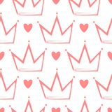 Crowns and hearts drawn by hand. Cute seamless pattern. Sketch, doodle. Stock Image