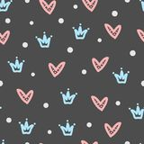 Crowns, hearts, round dots. Seamless pattern drawn by hand. Royalty Free Stock Photo