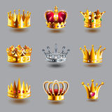 Crowns icons vector set. Crowns icons detailed photo realistic vector set Stock Images