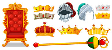 Crowns and knight helmet. Illustration Stock Photography