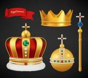 crowns kunglig person Lyxiga högvärdiga medeltida guld- symboler av vektorn för diamanter och för juvlar för diadem för monarkisp stock illustrationer