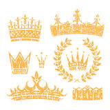 Crowns And Laurel Leaf Wreath Grunge Set Stock Photography