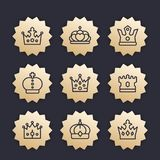Crowns line icons, royalty, king, monarch,. Crowns line icons, vector badges set, royalty, king, monarch, sovereign, princess coronet Royalty Free Stock Image