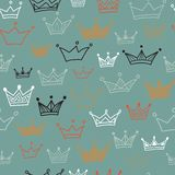 Crowns  seamless pattern on dark background. Vector illustration. Endless pattern. Used as seamless wallpaper, textile, wrapping paper or background Stock Photography