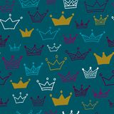 Crowns  seamless pattern on pastel background. Vector illustration. Endless pattern. Use for wallpaper, pattern fills, web page background Royalty Free Stock Photos