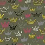 Crowns  seamless pattern on pastel background. Vector illustration. Endless pattern. Use for wallpaper, pattern fills, web page background Stock Photography