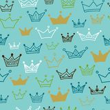 Crowns  seamless pattern on pastel background. Vector illustration. Royalty Free Stock Images