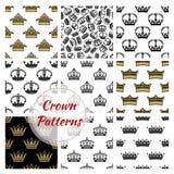 Crowns seamless royal patterns royalty free illustration
