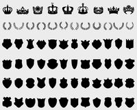 Crowns, shields and laurel wreaths Royalty Free Stock Image