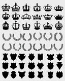Crowns, shields, wreaths Stock Photo