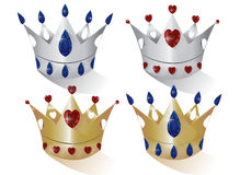 Crowns silver and gold Stock Images