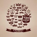 Crowns vintage set. Stock Photo