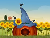 Crows eat pumpkin. Funny illustration of crows eat pumpkin Vector Illustration